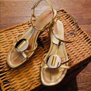 Prada Gold Disc Wedge Sport Sandal